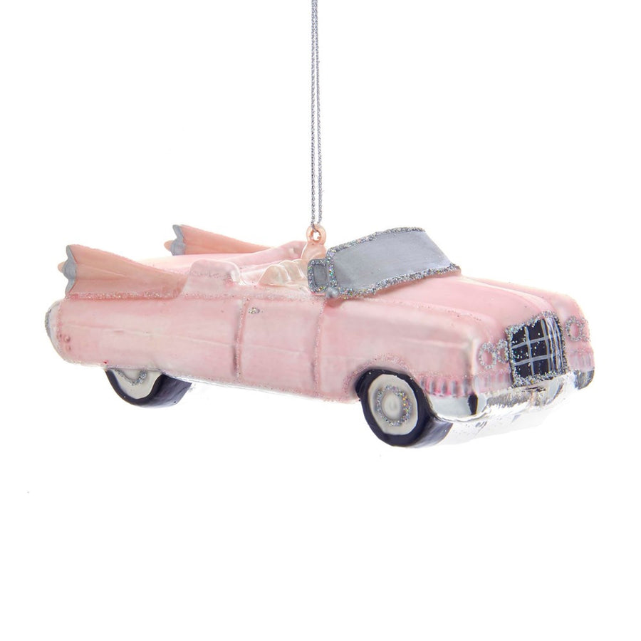 Kurt Adler Retro 60'S Pink Roadster Glass Ornament | Putti Christmas