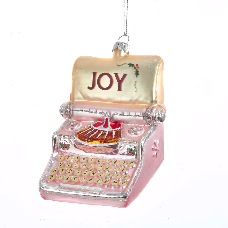 "Kurt Adler Pink Typewriter With ""Joy"" Glass Ornament  
