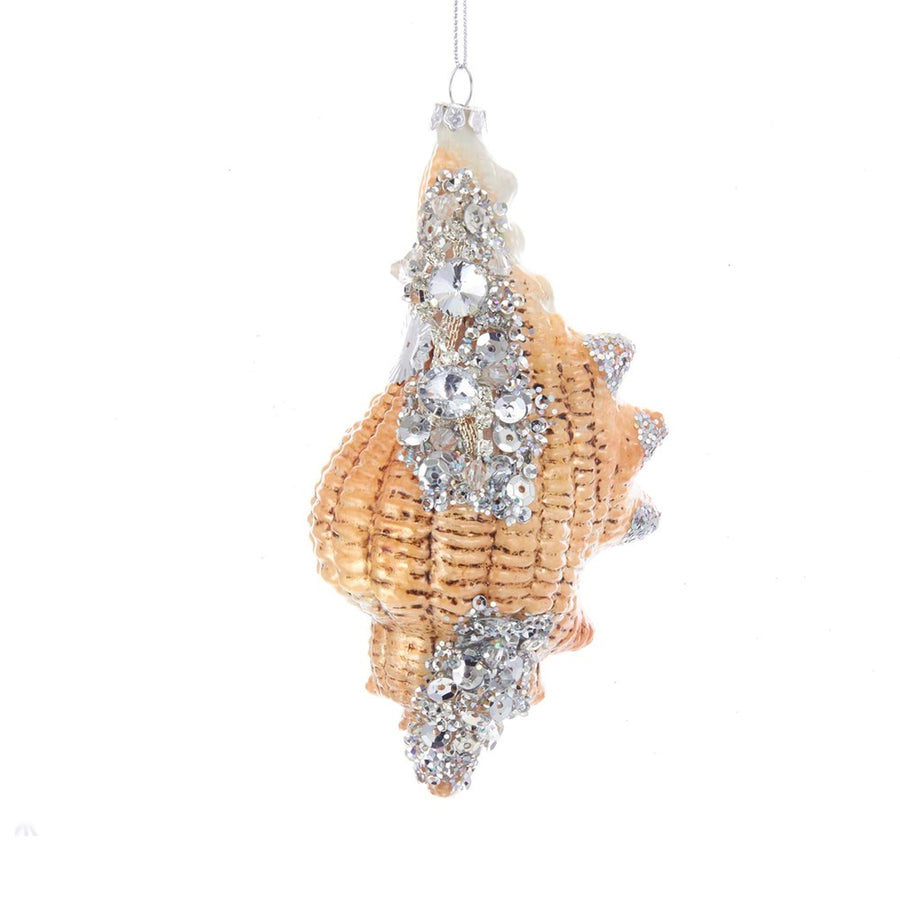 Kurt Adler Seashell With Stones Glass Ornament