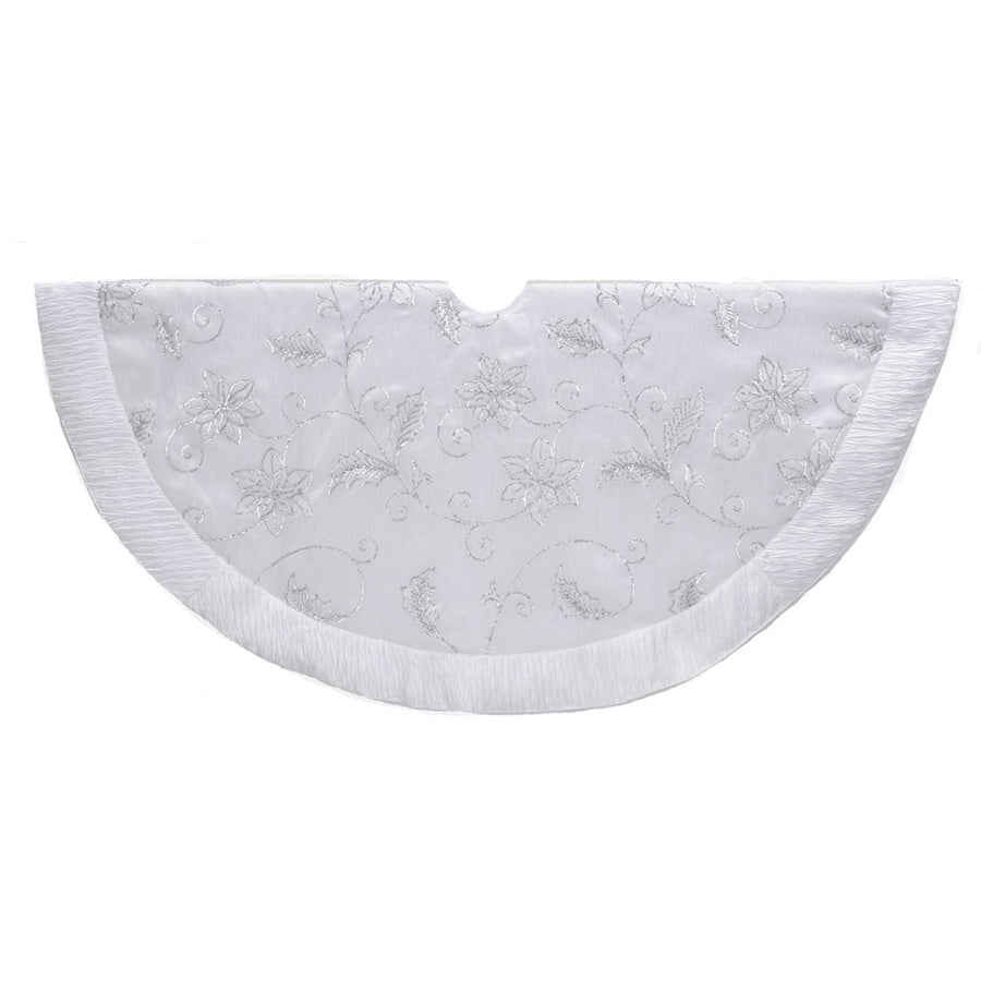 Kurt Adler White Tree Skirt with Sequin Flowers | Putti Christmas