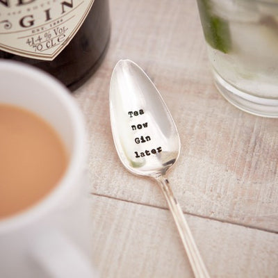 """Tea Now Gin Later"" Vintage Tea Spoon -  Tableware - La De Da Living - Putti Fine Furnishings Toronto Canada"