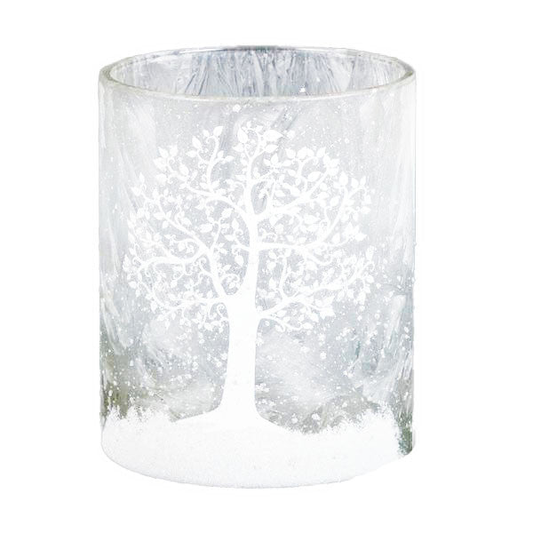 Iced Glass Tree Candle Holder - Large