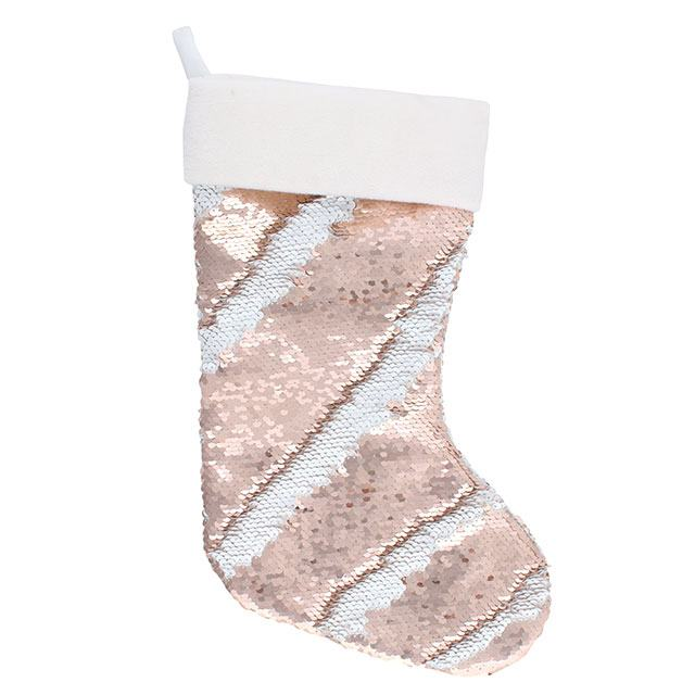 Rose Gold and White Reversible Sequin Stocking