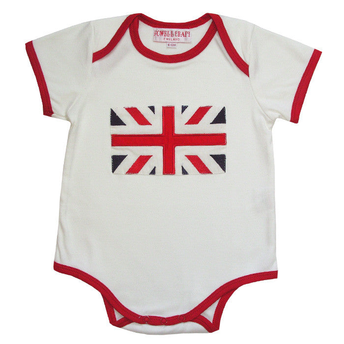 Union Jack Baby Grow-Children's Clothing-PC-Powell Craft Uk-0 to 6 month (Special Order 2 weeks)-Putti Fine Furnishings