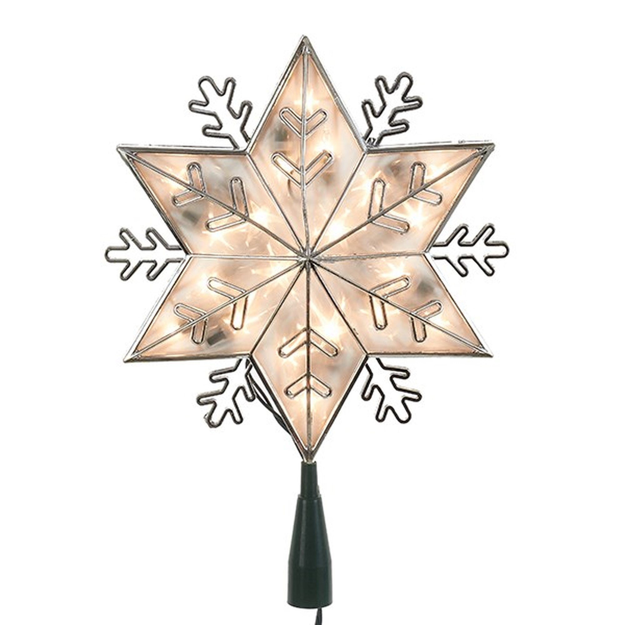 Kurt Adler Silver Snowflake Star Lighted Treetop