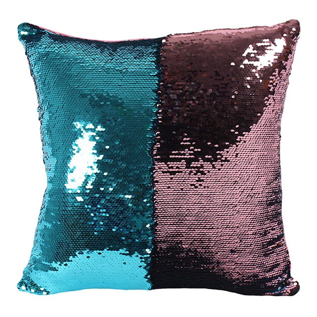Pink and Aqua Blue Reversible Sequin Pillow