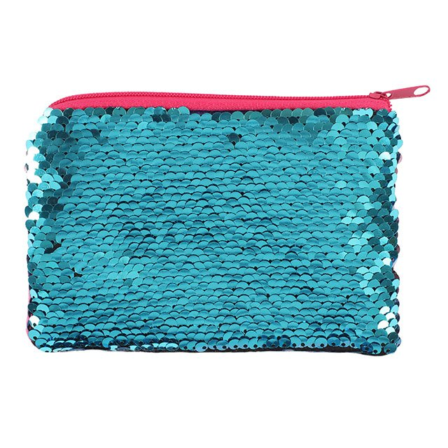 Pink and Aqua Blue Reversible Sequin Small Purse