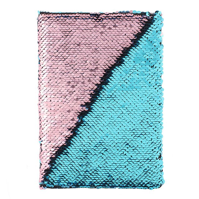 Pink and Aqua Blue Reversible Sequin Note Book