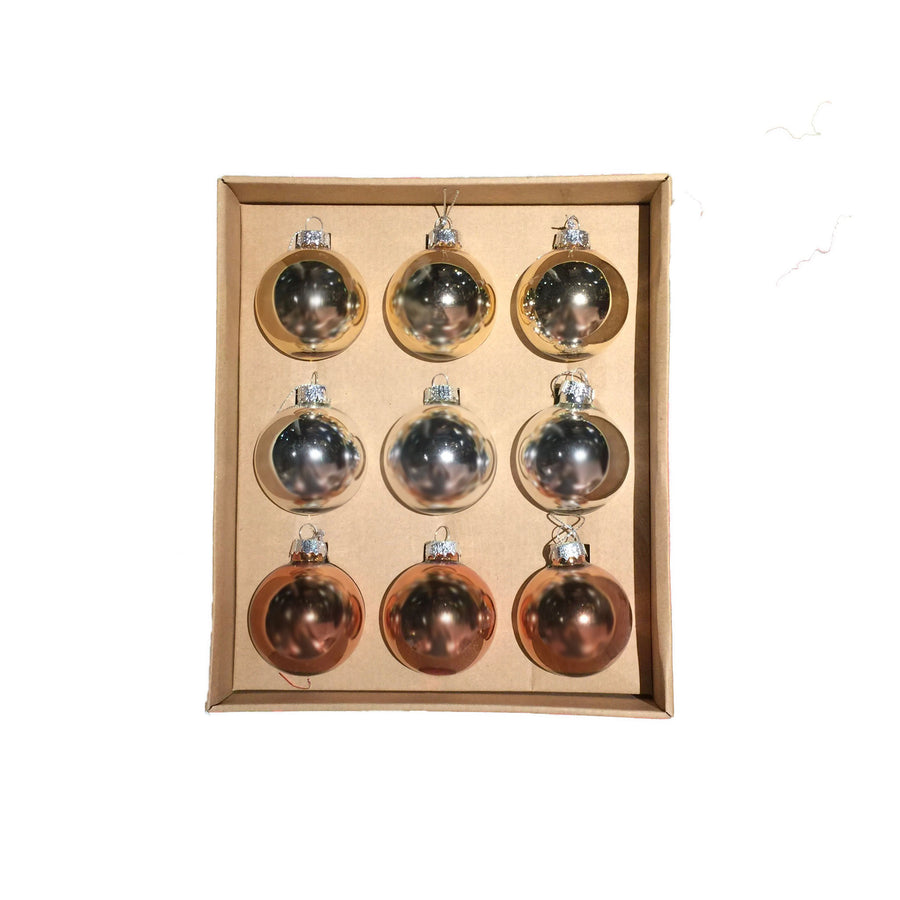 Rose Gold , Silver and Gold Box Set of Ornaments