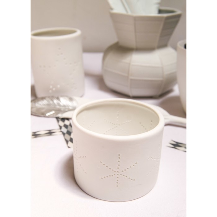 White Porcelain Snowflake Tea Light Holder