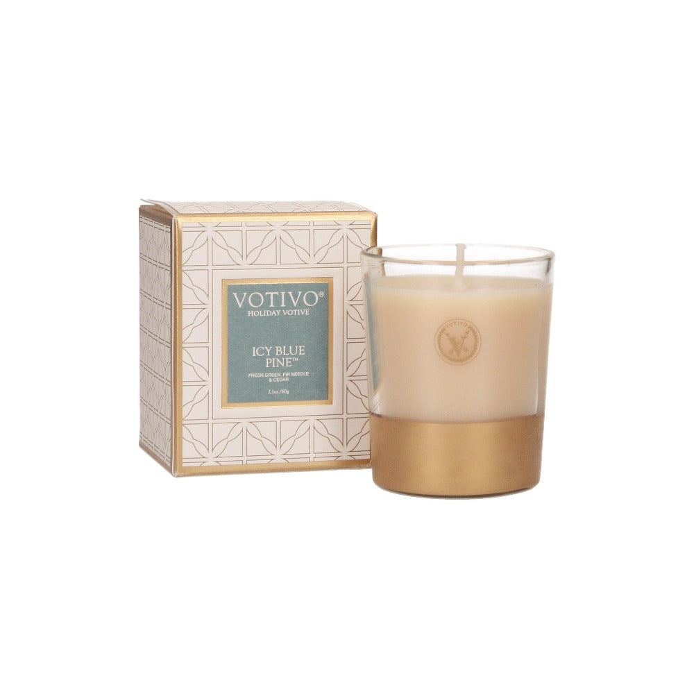 Votivo Holiday Votive Candle - Icy Blue Pine - Putti Fine Furnishings Canada