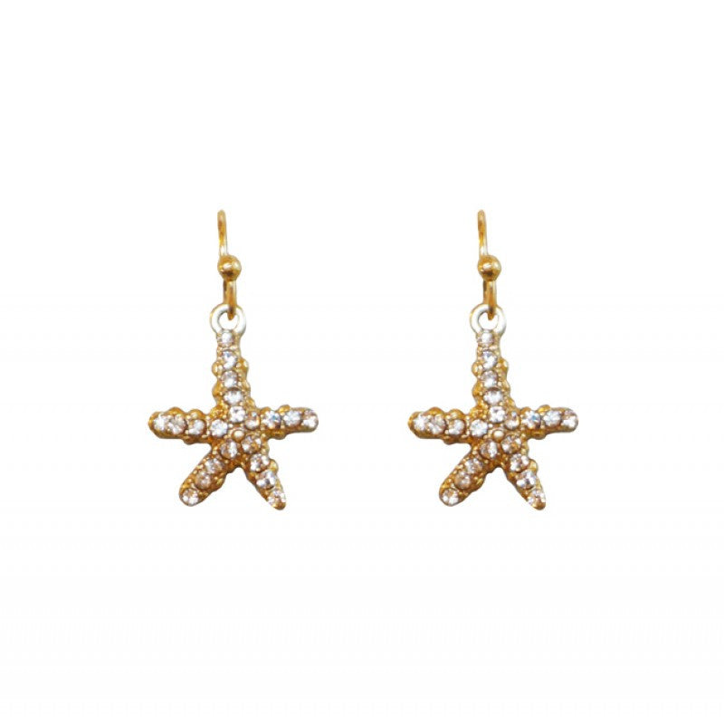 Belle & Flo Crystal Drop Starfish Earrings - Gold
