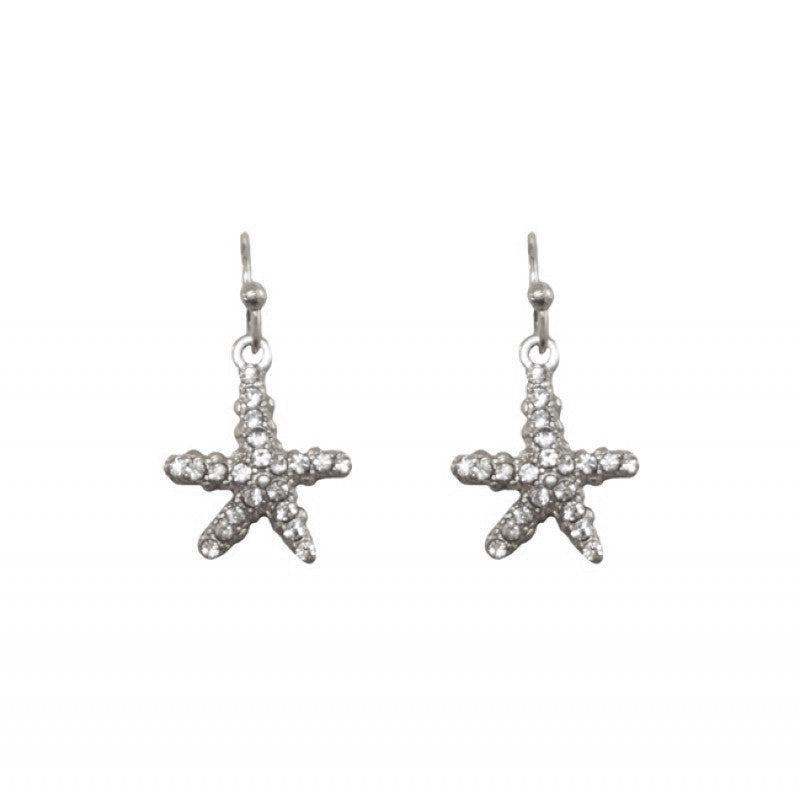 Belle & Flo Crystal Drop Starfish Earrings - Silver