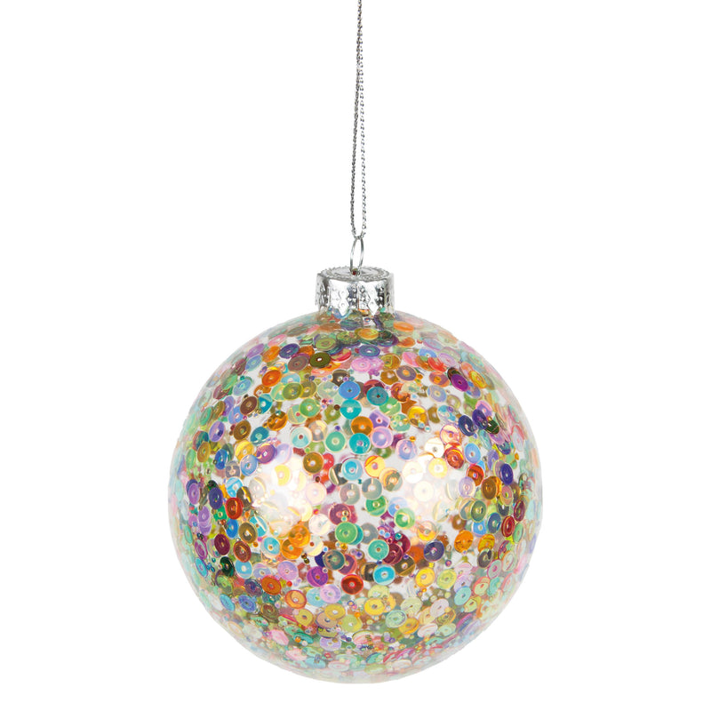 Multi Color Sequin Glass Ball Ornament | Putti Christmas Decorations Canada