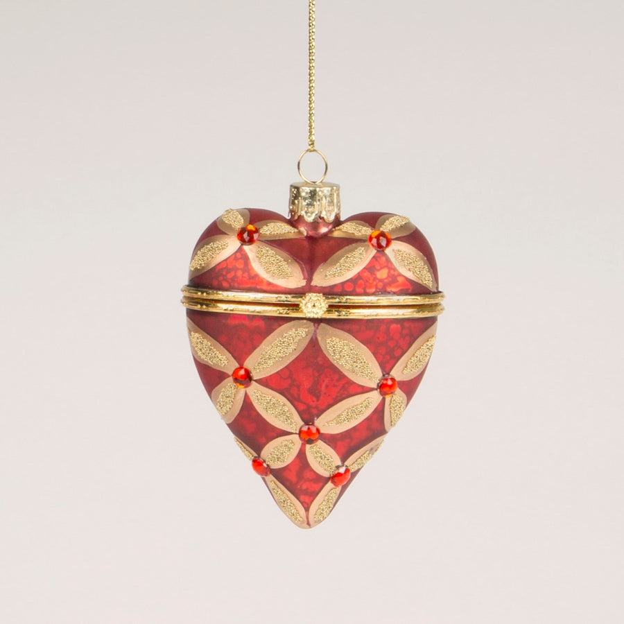 Red and Gold Heart Trinket Box Glass Ornament