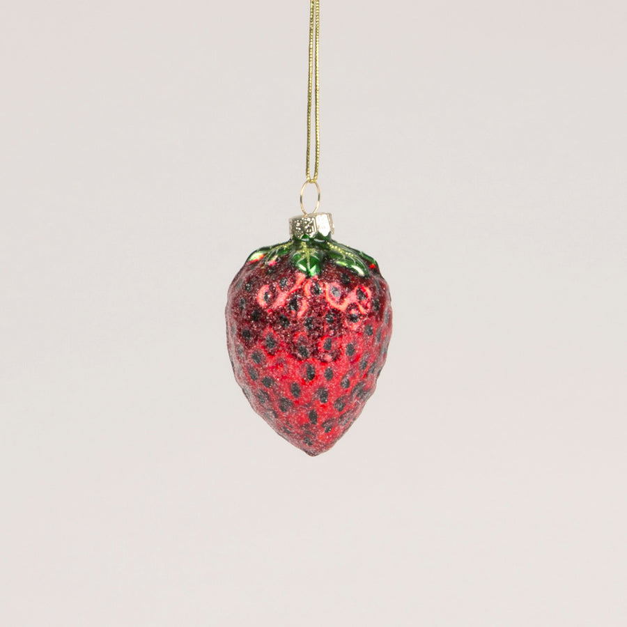 Glass Strawberry Ornament