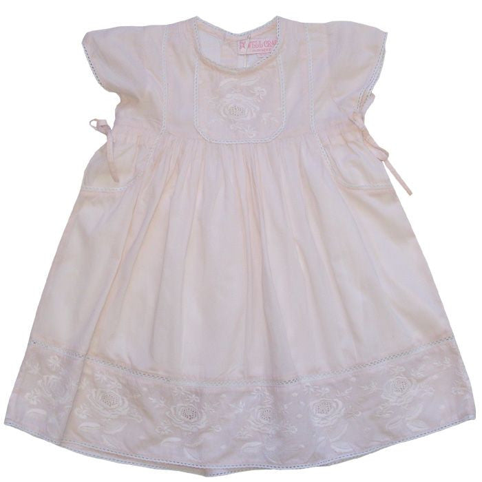 """Frances"" Pink Embroidered Dress - 1 to 2 years Children's Clothing - Powell Craft Uk - Putti Fine Furnishings Toronto Canada"