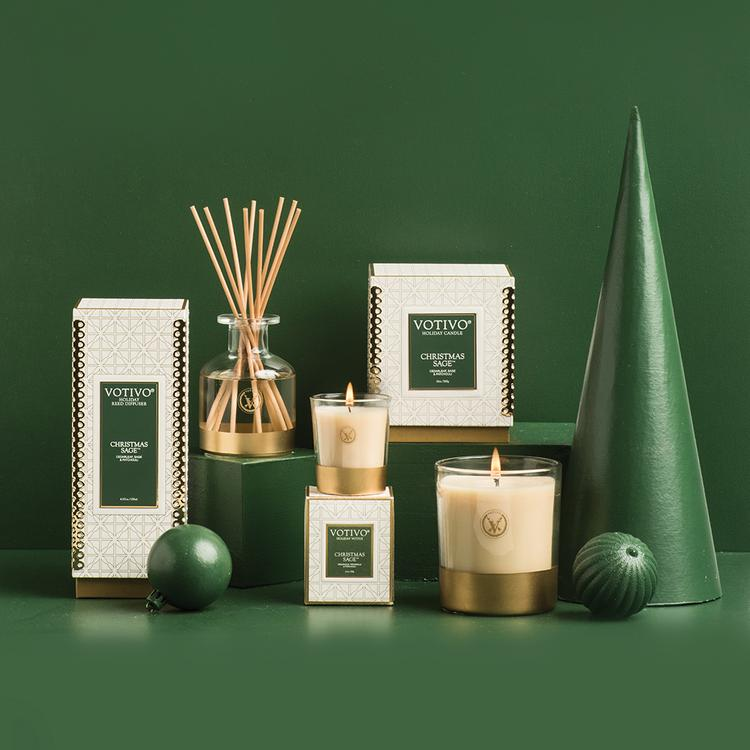 Votivo Holiday Candle - Christmas Sage - Putti Fine Furnishings Canada