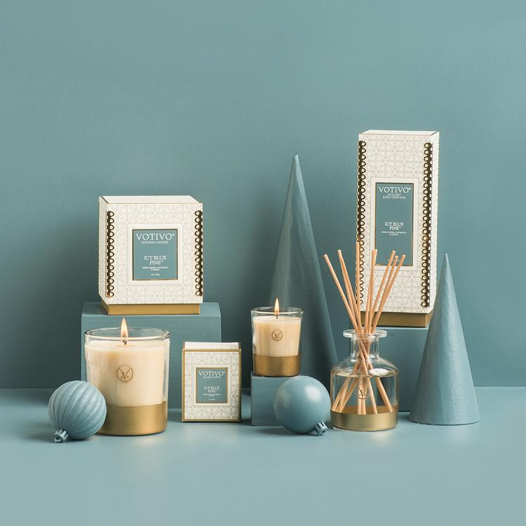 Votivo Holiday Diffuser - Icy Blue Pine - Putti Fine Furnishings Canada