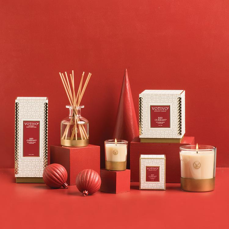 Votivo Holiday Candle - Red Currant - Putti Fine Furnishings Canada