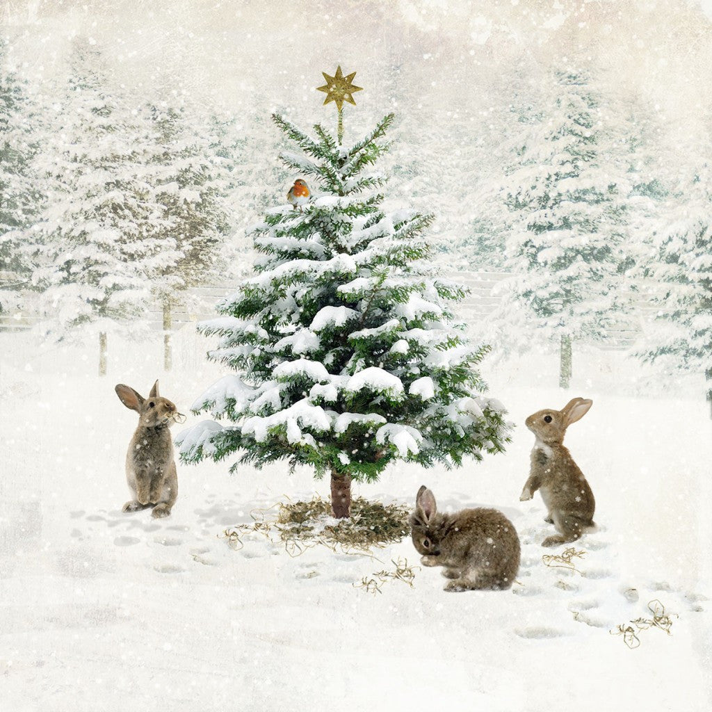 """Christmas Tree with Rabbits"" Christmas Card, ID-Incognito Distribution, Putti Fine Furnishings"