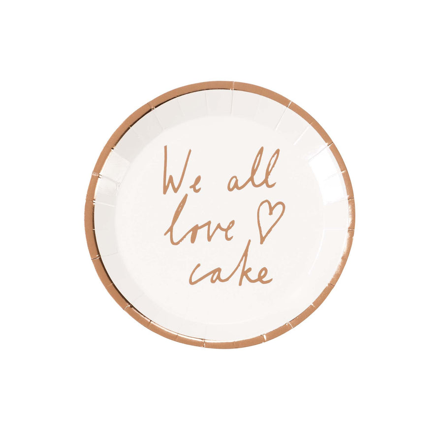 """We all Love Cake"" Rose Gold Metallic Paper Canapé Plates"