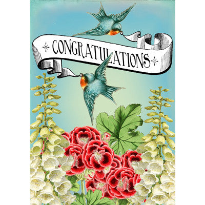 """Congratulations"" Two Blue Birds Greeting Card"