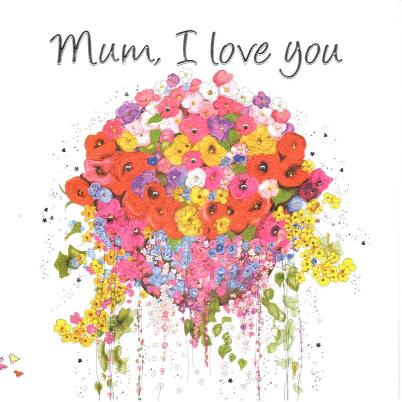 """Mum I Love You"" Floral Hanging Basket Greeting Card 