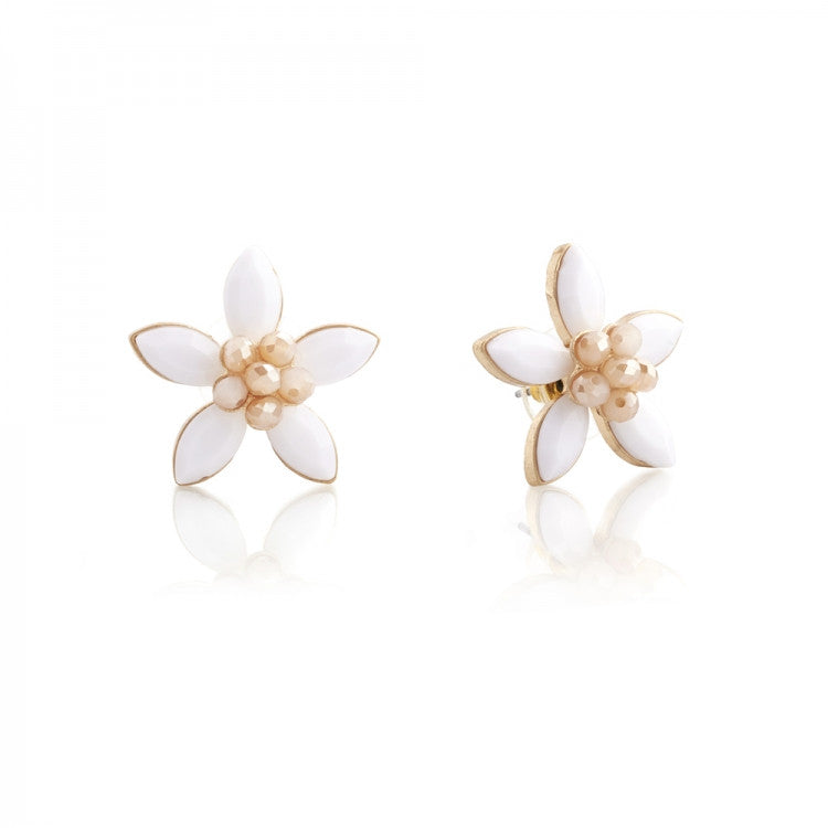 Lovett & Co. White Coventry Flower Stud Earrings