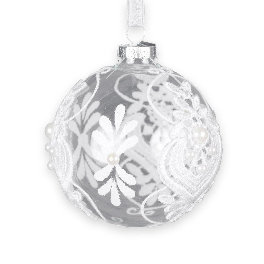 Clear Glass Ball Ornament with White Lace and Pearls