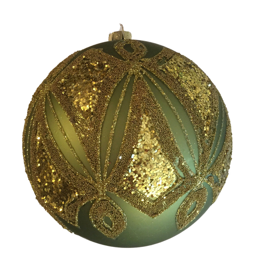 Green with Gold Seed Beads Glass Ornament