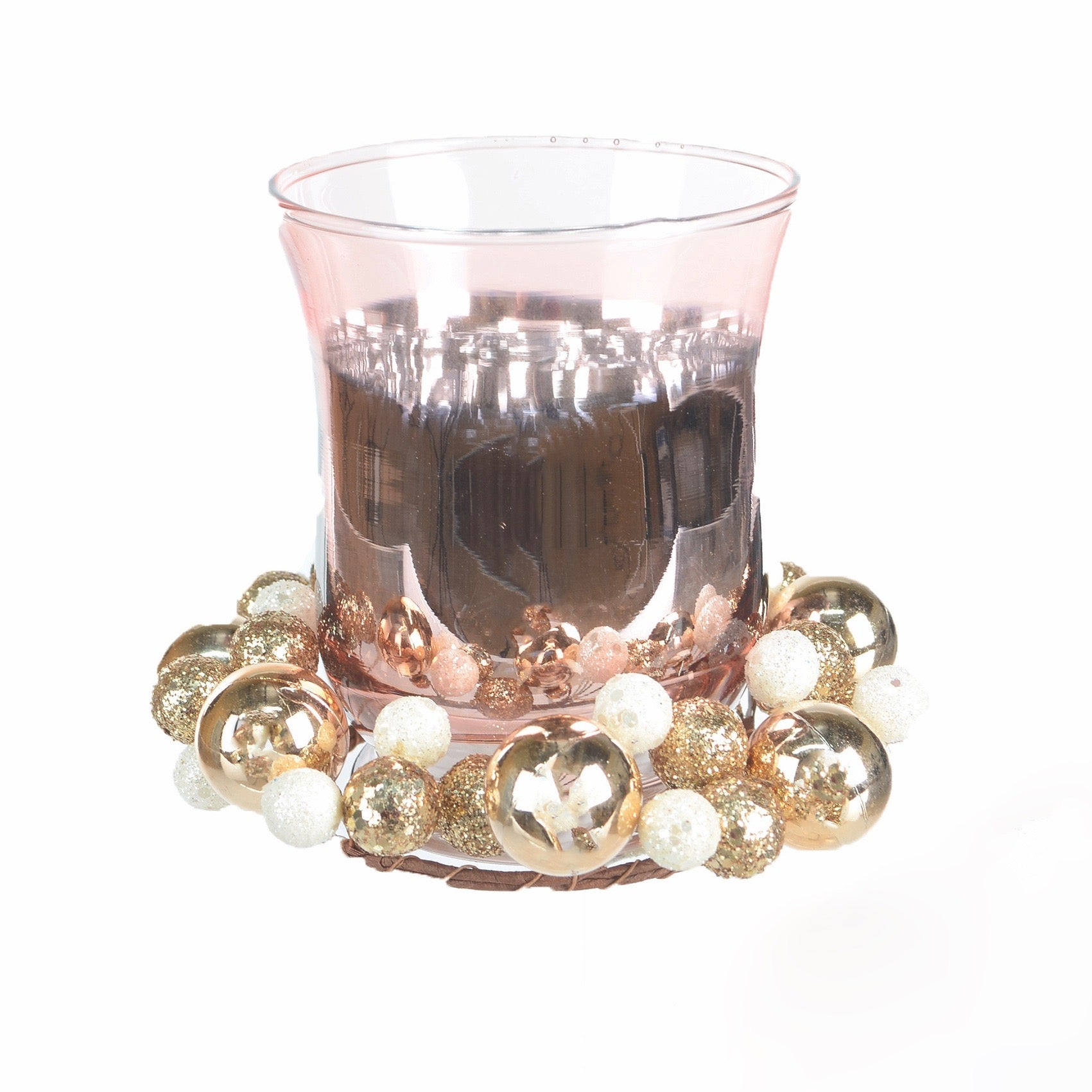 Rose Gold Candle Holder with Baubles