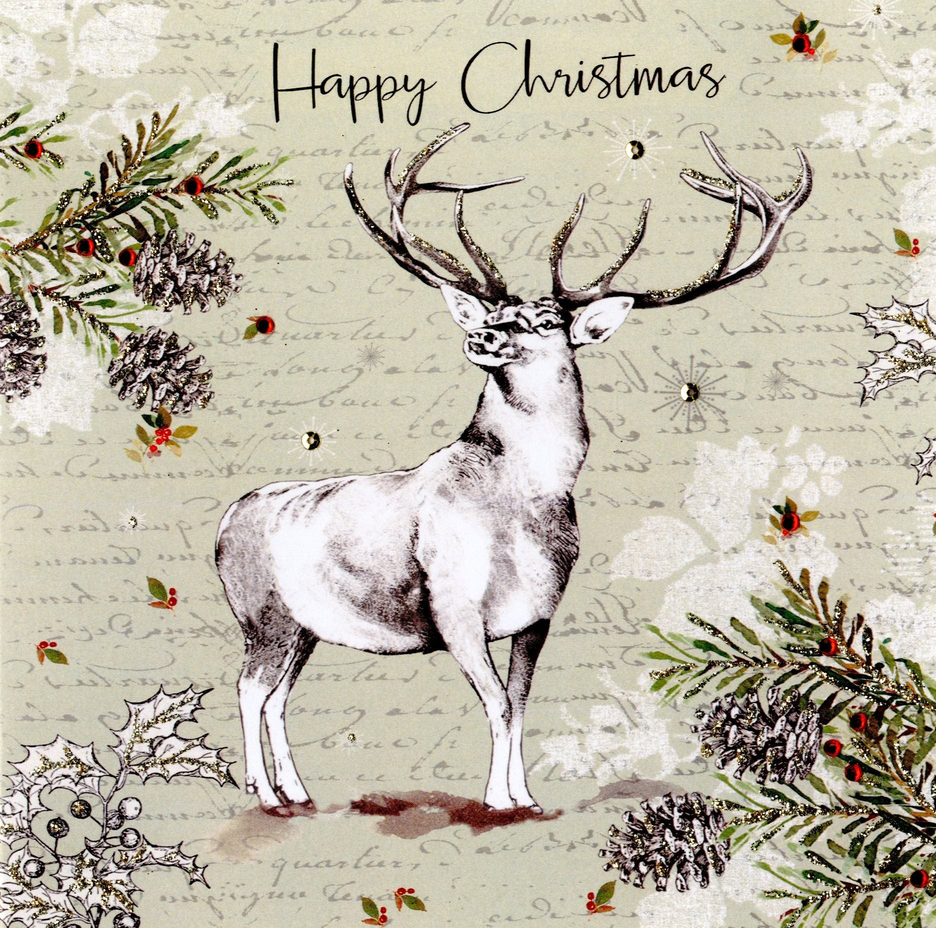 """Happy Christmas"" Stag Luxury Boxed Greeting Cards"