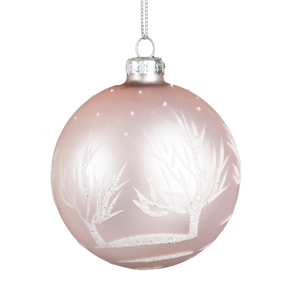 Matte Pink with White Trees Glass Ball Ornament | Putti Christmas Canada