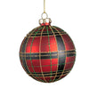 Red and Green Plaid with Gold Glitter Glass Ball Ornament | Putti Christmas Decorations