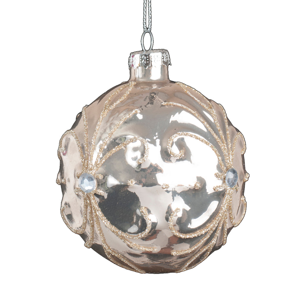 Light Rose Fleur de Lis Glass Ball Ornament | Putti Christmas Canada