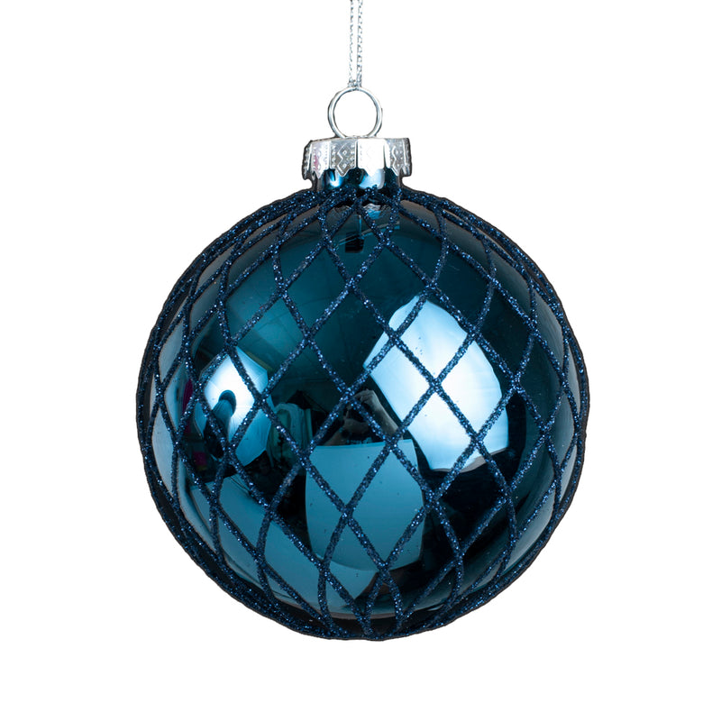 Shiny Navy with Blue Glitter Diamond Grid Glass Ball Ornament | Putti Christmas Canada