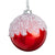 Ice Capped Glossy Red Glass Ball Ornament | Putti Christmas Canada
