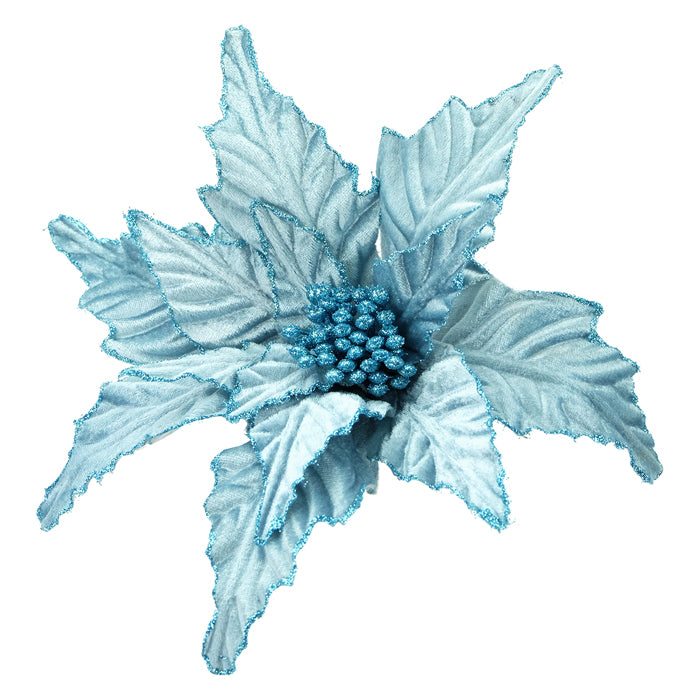 Light Aqua Blue Glittered Velvet Poinsettia with Clip | Putti Christmas Decorations