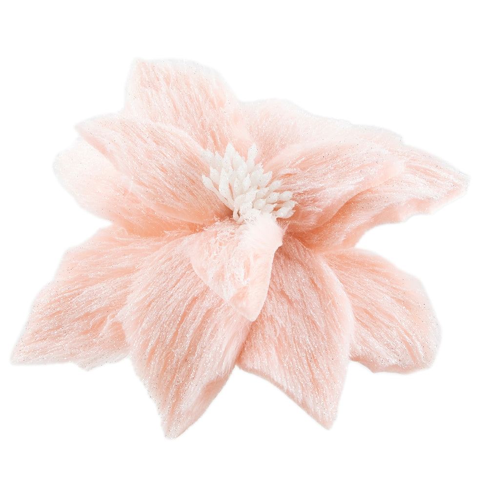 Shimmered Pink Fur Poinsettia with Clip
