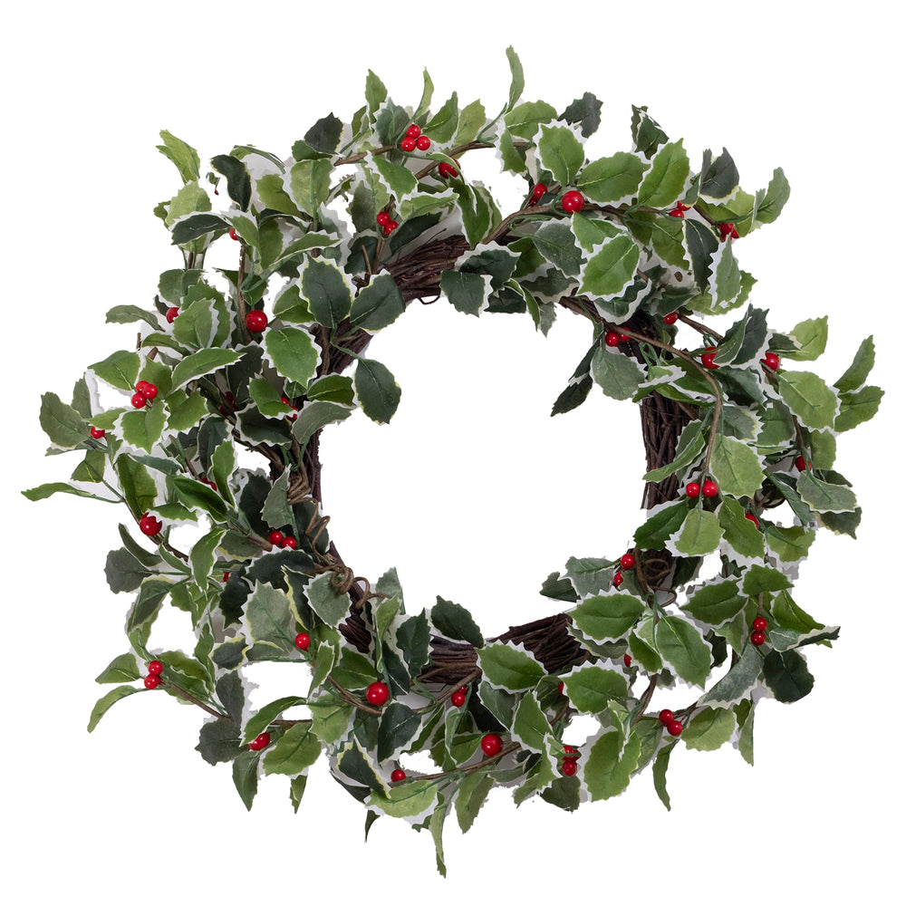 Variegated Holly with Red Berries Wreath | Putti Christmas Decorations