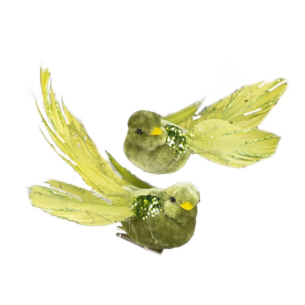 Chartreuse Green Feather Bird with Clip | Putti Christmas Canada