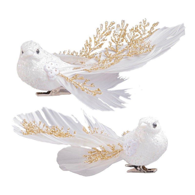 White Feather Clip Bird with Gold Branch Tail | Putti Christmas Canada