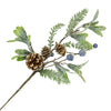 Needle Pine with Cones and Blue Berries Pick | Putti Christmas Decorations