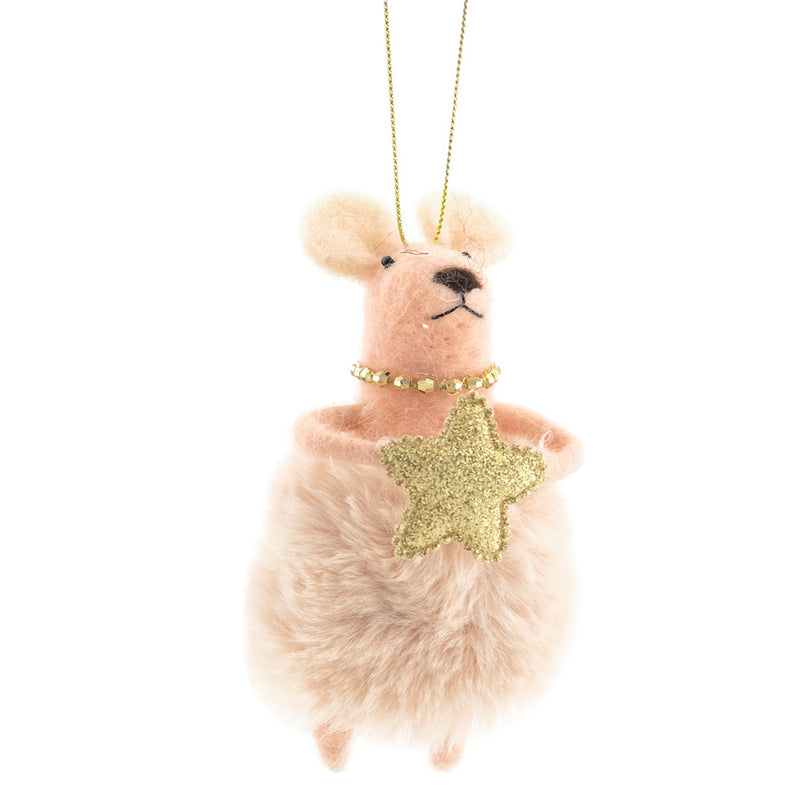Fur Skirt and Star Pink Felt Mouse Ornament | Putti Christmas Canada