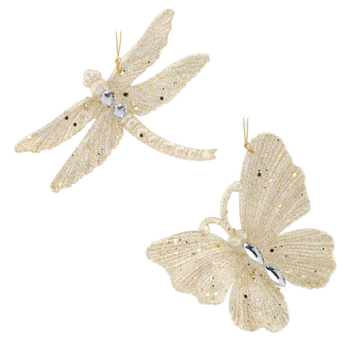 Pale Gold Glittered Dragonfly and Butterfly Ornament | Putti Christmas