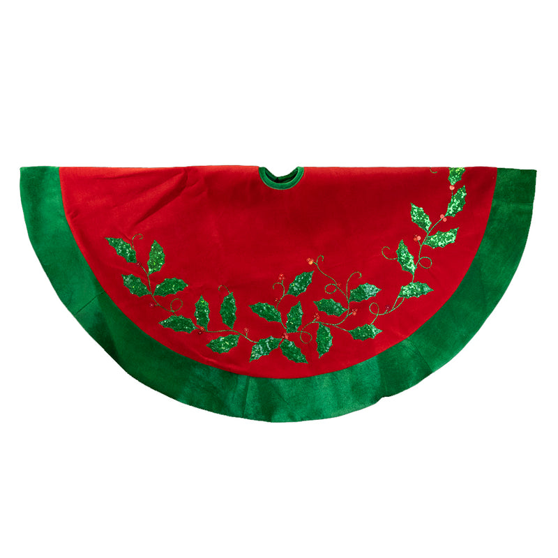 Red Velvet with Green Holly Christmas Tree Skirt | Putti Christmas Canada