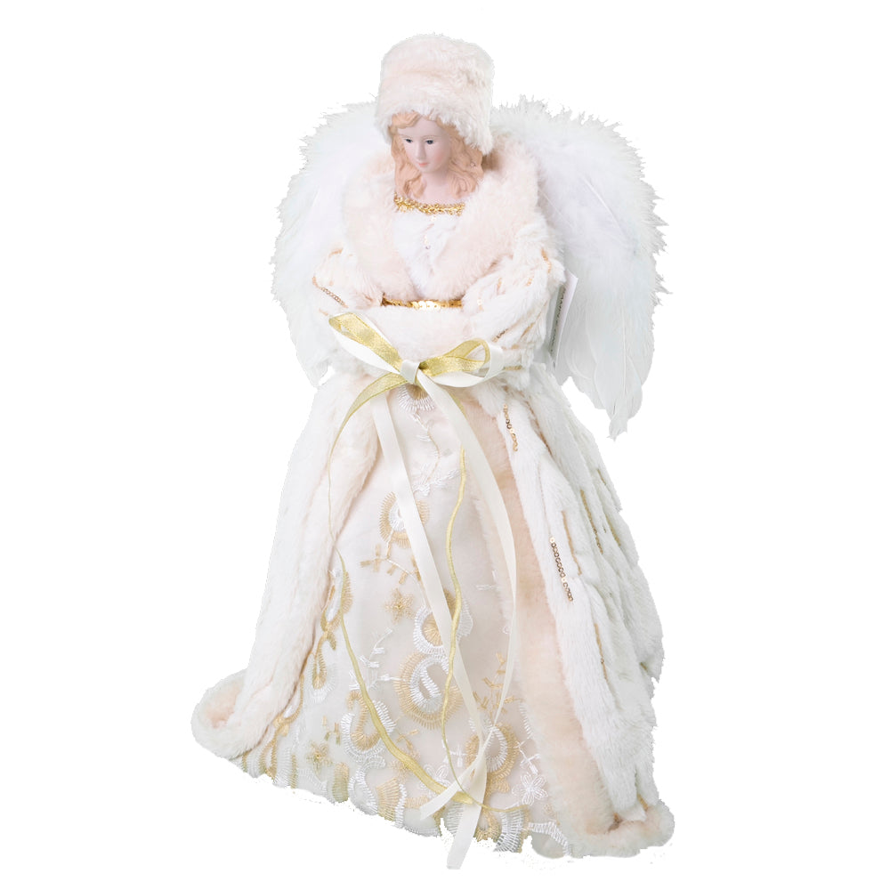 Ivory Fur Angel Tree Topper  | Putti Christmas Decorations Canada