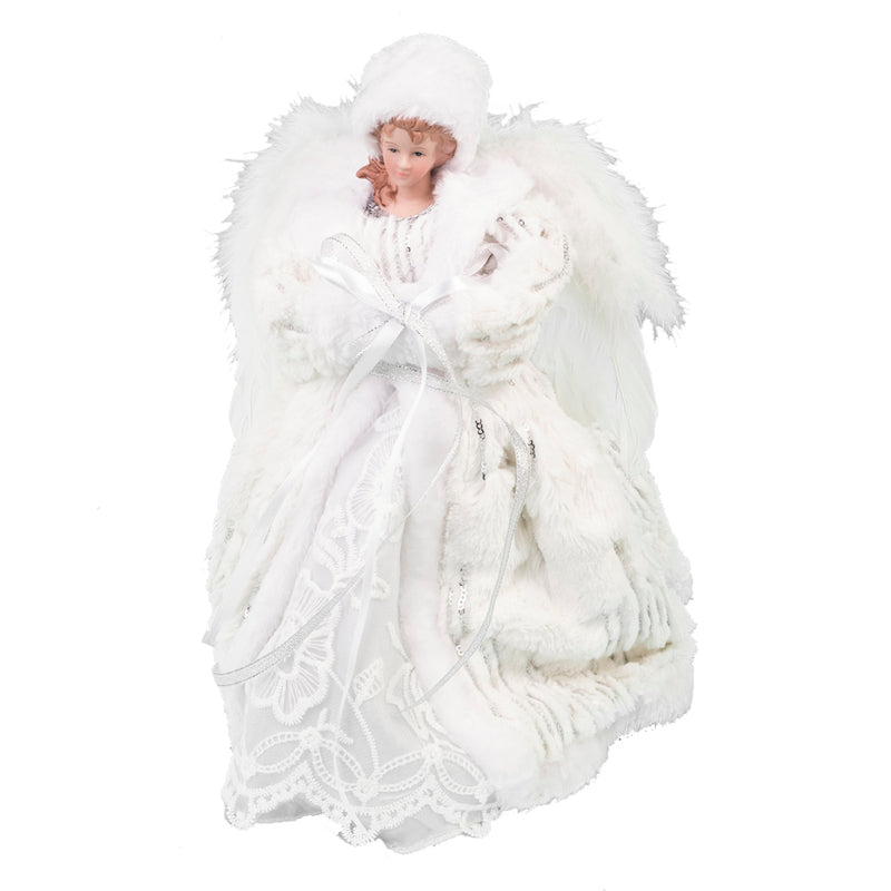 White Fur and Lace Angel Tree Topper