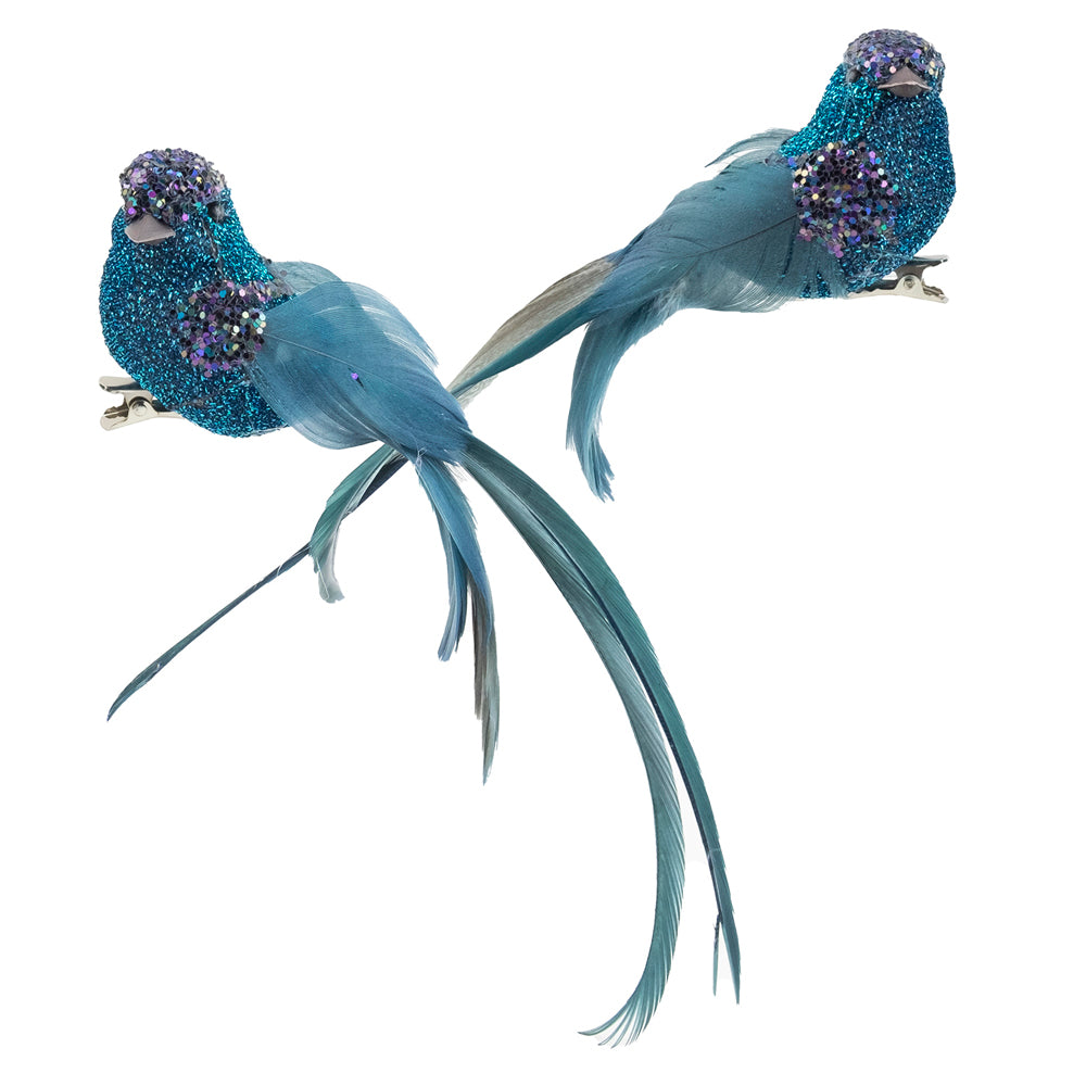 Turquoise Glitter Feather Bird with Clip | Putti Christmas Canada